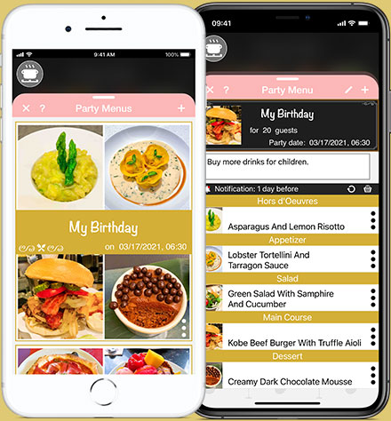 Create Party Menus for your celebrations with the Recipe Selfie cooking app