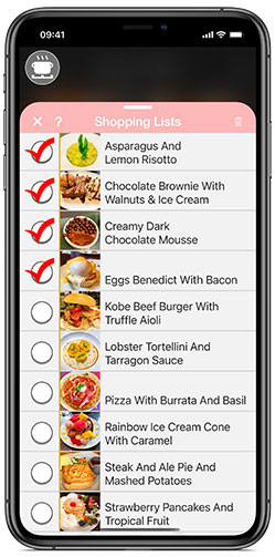 Add your recipe's ingredients photos to your Shopping Lists with just a tap